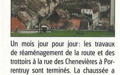 Travaux de génie civil en ville de Porrentruy