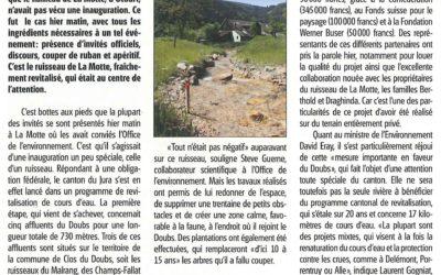 Revitalisation du Doubs Aménagement du ruisseau de La Motte