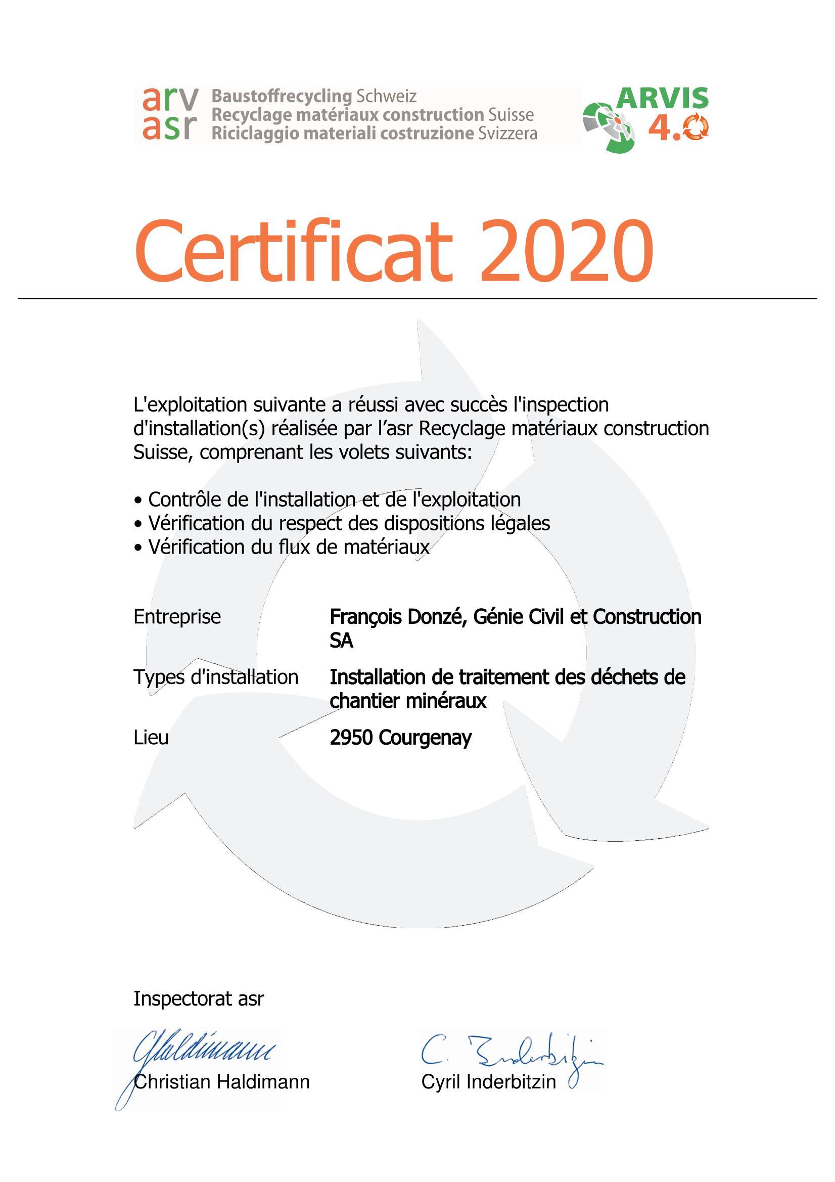ASR certificat Donzé SA 2020